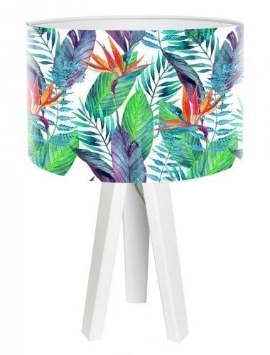 Egzotyczna lampa biurkowa Liście jungle białe mini foto 405w MacoDesign
