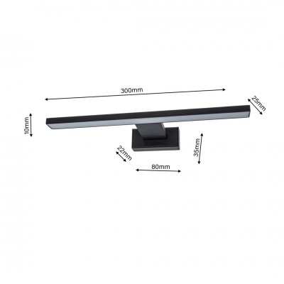 lafabryka.pl Kinkiet IP44 SHINE BLACK 7W LED ML4378 30 cm MILAGRO